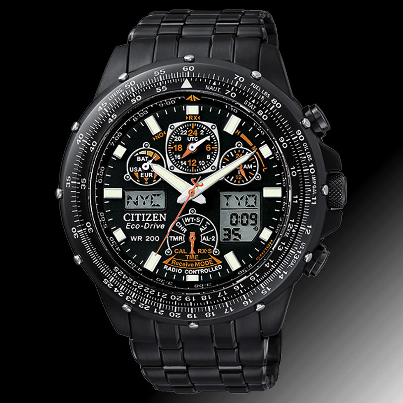 citizen men watch atomic steel a t watches chrono s chronograph skyhawk stainless
