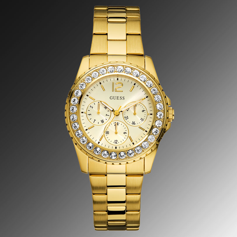 5d4f4431b49a 100% Authentic GUESS Ladys Watch Goldtone Stainless Steel Bracelet U12005L1