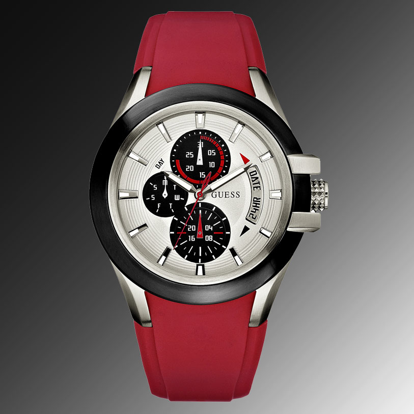 guess watches guess diamond watches guess man watch guess style 100% authentic genuine guess watch men s red silicone strap u10575g4