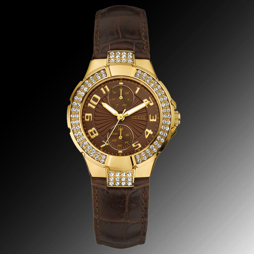 1ebdc6408a58 100% Authentic GUESS Watch Womens Brown Leather Strap U11596L1