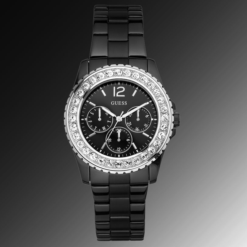 Black Guess Watch With Diamond Guess Watch Women's Black